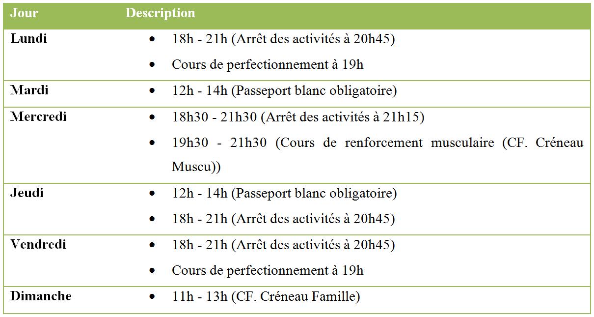 Liste creneau adulte 1